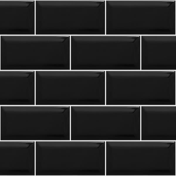 Black Gloss Kitchen Wall Tiles: Metro Brick Gloss Black Ceramic Subway 10cm X 20cm Wall Tile