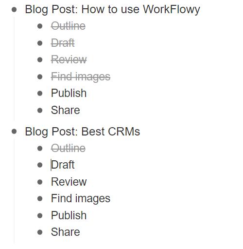 WorkFlowy Duplicate Task