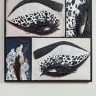 Gina Beavers, Cruella eye, 2017, acrylic and wood strips on canvas on panel with wood frame, 31 x 31 in.