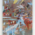 Petra Cortright, W9_krakow pajaki package crack panic attacks chest codes/deer hunter cheetah, tarzan, 2014, digital painting on aluminum, 64 × 48 in.