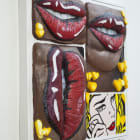 Gina Beavers, Pop art lip with Pop art, 2017, acrylic and wood on canvas on panel with wood frame, 31 x 31 in.