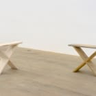 Gordon Hall, Double (I), 2014, found stool (Madison, ME) and replica, maple, dyed wood filler, 16 1⁄4 × 23 × 5 1⁄2 in.