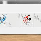 Michael Bell-Smith, Cut (Blue Splash, Spacer, Red Splash, Repeat), 2017, machine cut vinyl on Dibond (in four panels), 54 x 45 each: 54 x 45 in. (137.16 x 114.3 cm.,) MBS_FP3766