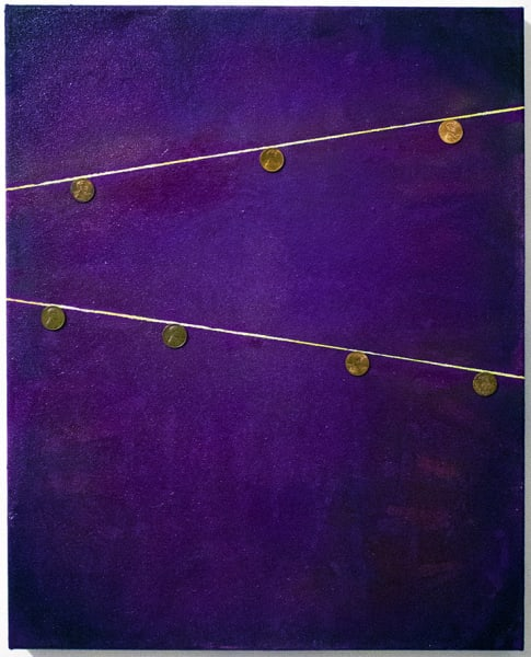 """""""Copper Globes"""" Oil and Pennies on Canvas, 16"""" x 20"""""""