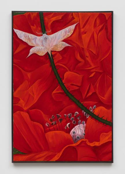 Srijon Chowdhury, Moth on a Poppy, 2021, oil on linen, 36 x 24 in. (91.44 x 60.96 cm)