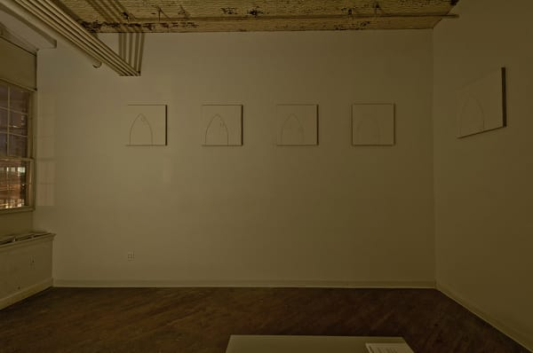 """10 Carved Plaster on Linen Surfaces- Each 24"""" x 24"""". All Hung 108"""" from the floor."""