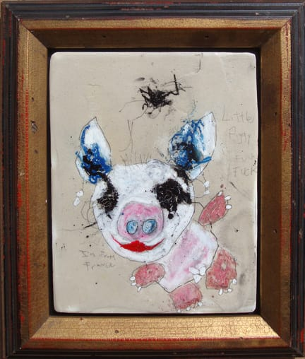 Little Piggy Fuck Fuck mixed media 11x13 in framed 2009  (sold)