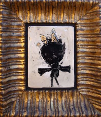 Little Black Angel. mixed media. 11x13 framed. 2009  (sold)