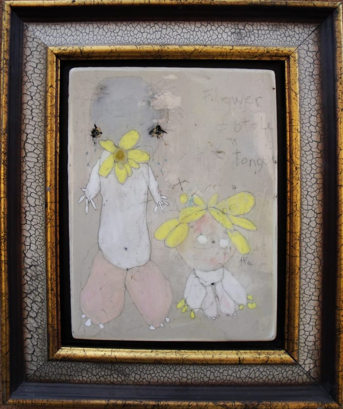 Flower Stole my Tongue, by Richard Campiglio, mixed media 10x13in framed 2013