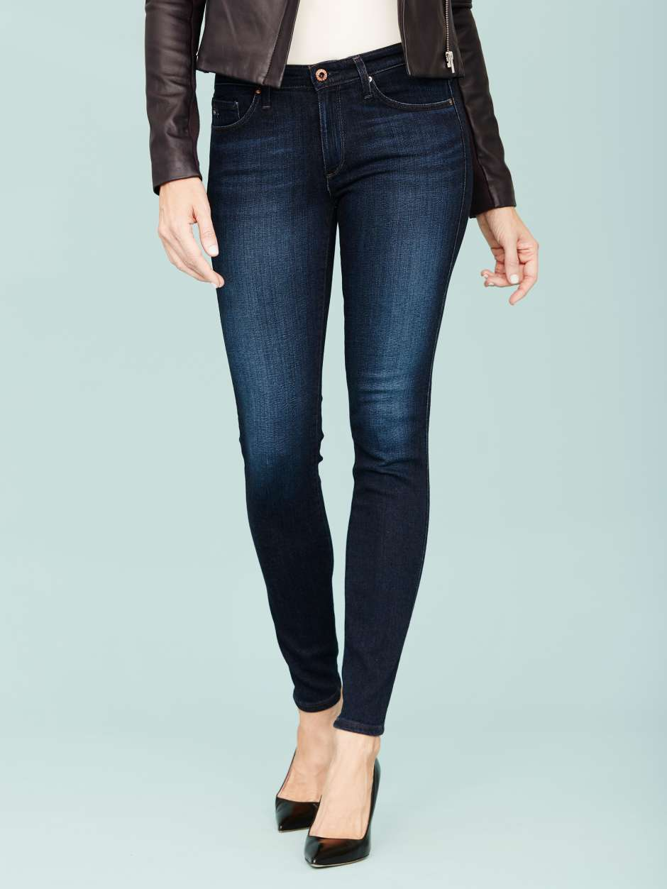 Women's dark denim jeans wardrobe essential