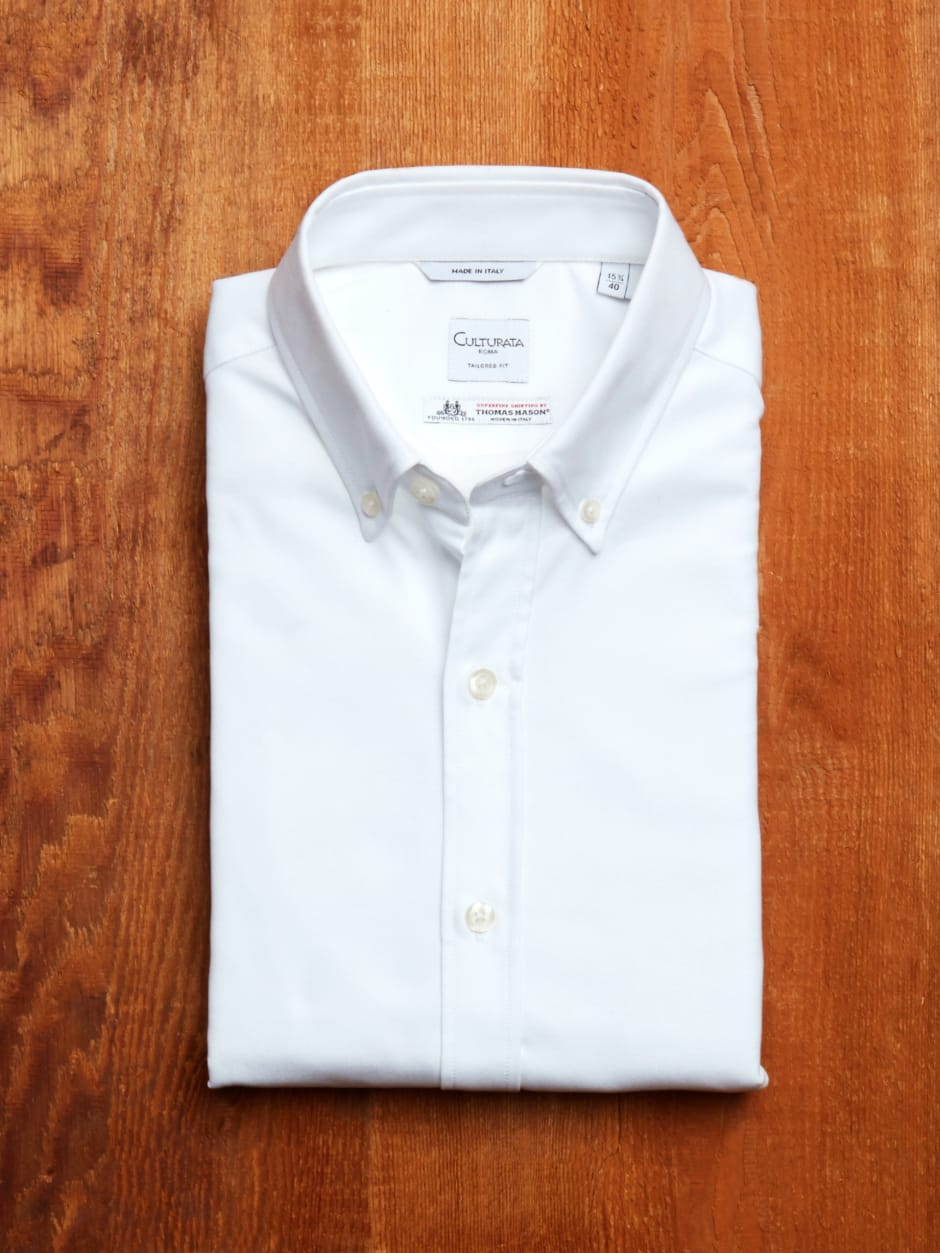 Crisp white button down shirt