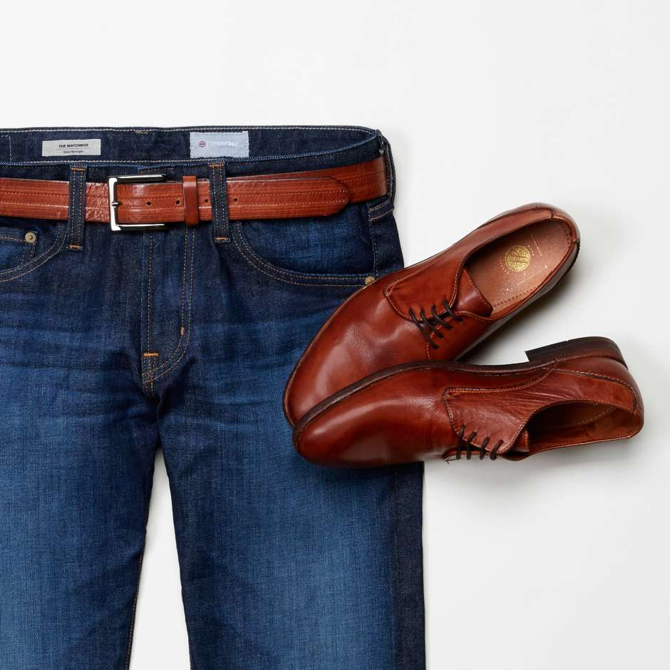 Brown shoes with belt