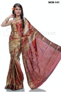 deep golden red+Soft Silk-Katan-Saree-NCB-141