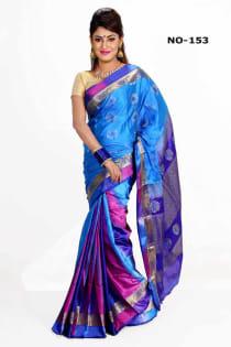 sky pink +Soft Silk-Katan-Saree-No.153