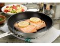 nonstick 10-Inch Turbo Fry Pan & seared salmon filets at table (TPA1003C)