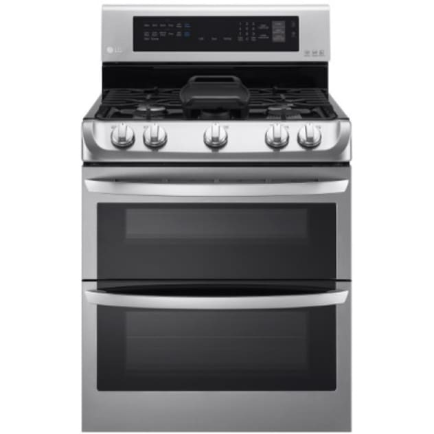 LG 6.9 Cu. Ft. Gas Double Oven Range with ProBake™ Convection, EasyClean® Express and Gliding Rack (LDG4315ST)