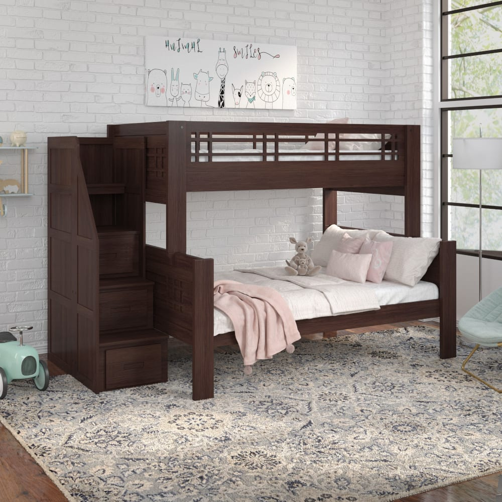 Kona Twin Over Full Bunk Bed with Staircase - KONATFSTAIR