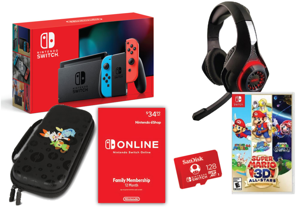Nintendo Switch Bundle - Super Mario 3d All Stars and Nyko Headset (NTDSWITCH7)