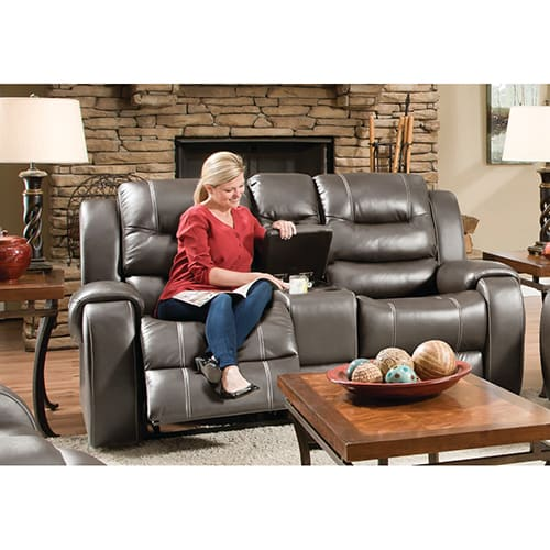 Titan Living Room Collection Reclining Loveseat in Steel
