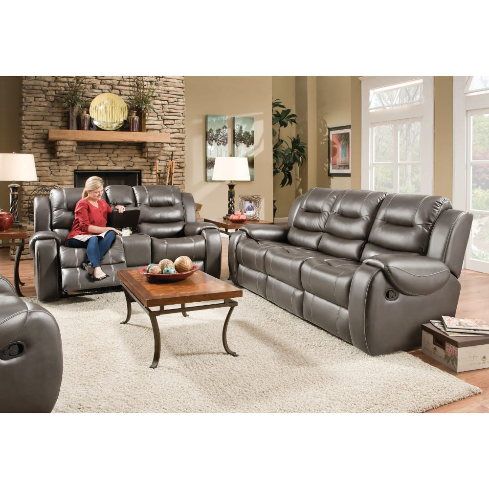 Titan Living Room Steel Reclining Sofa & Loveseat - TITAN2PCSTEELLR