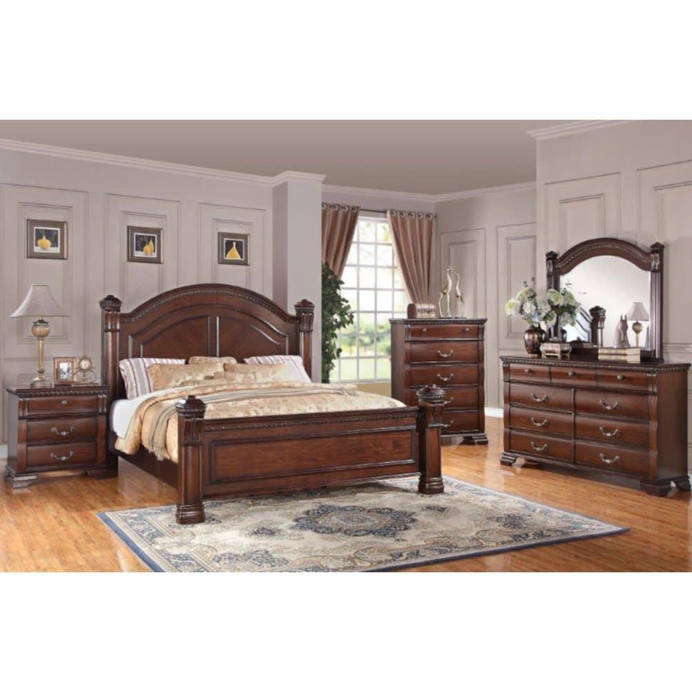 Vienna Bedroom - Bed, Dresser & Mirror - Queen - VIENNAQNBR