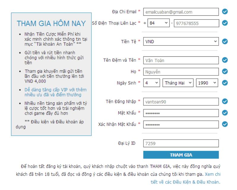 Thông tin đăng ký tài khoản w88