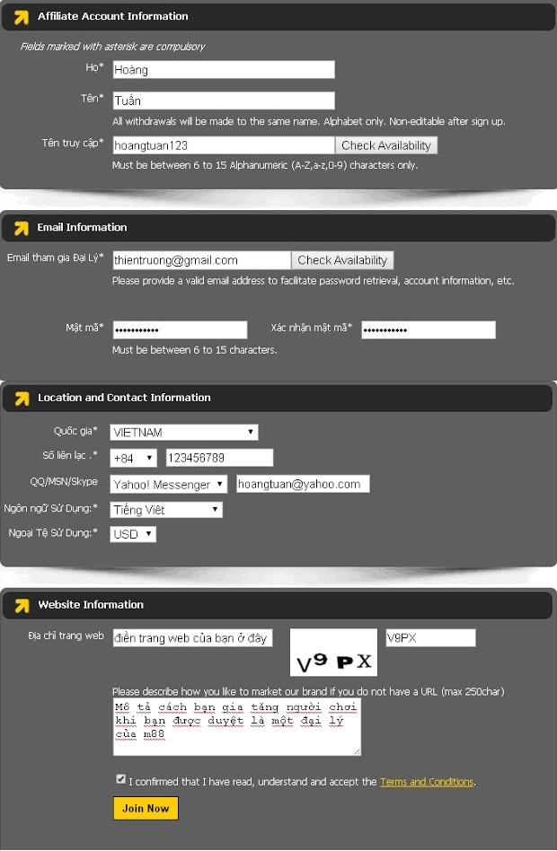 thông tin đăng ký làm đại lý m88