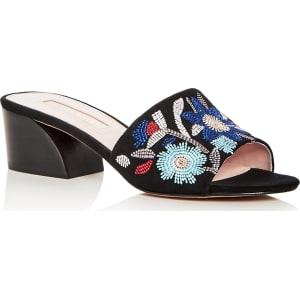 AVEC LES FILLES Women's Sloane Embroidered Suede Block Heel Slide Sandals MoUguy