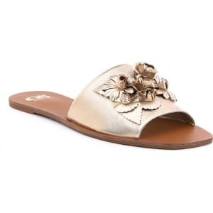 Char-Isma Metallic Leather 3D Floral Appliques Slides ong0WosW