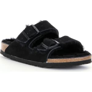 Women's Arizona Suede Double Buckle Fur Lined Shearling Sandals JL6Ih37a