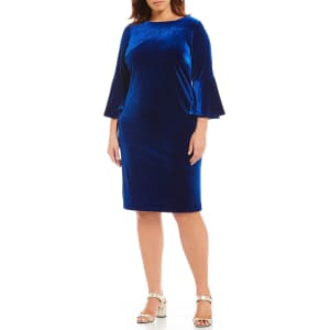 16dca85dd29 Calvin Klein Plus Size Velvet 3 4 Bell Sleeve Sheath Dress from ...