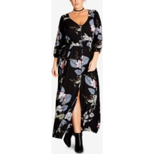 City Chic Trendy Plus Size Floral-Print Maxi Dress from Macy\'s.