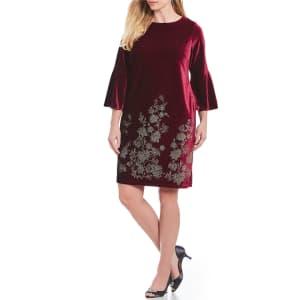 81296a5460 Jessica Howard Plus Size Velvet Bell Sleeve Sheath Dress from Dillard s.