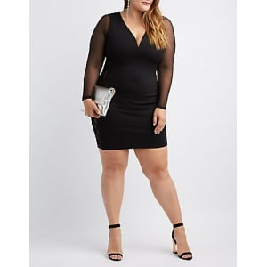 Plus Size Mesh Long Sleeve Bodycon Dress
