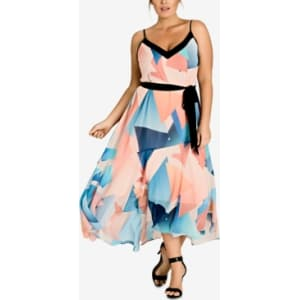 City Chic Trendy Plus Size Printed Belted Maxi Dress from Macy\'s.