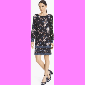 a2244117d69 Women s Long-Sleeve Floral Knit Shift Dress by White House Black ...