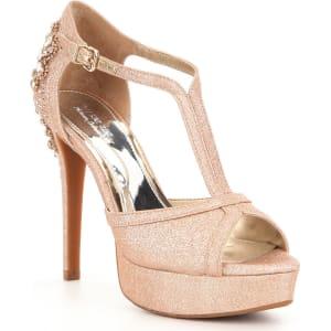 de67ef995 Gianni Bini Laurito Glitter Jewel Ornament Platform Dress Sandals ...