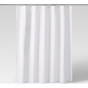 Grid Dot Textured Shower Curtain