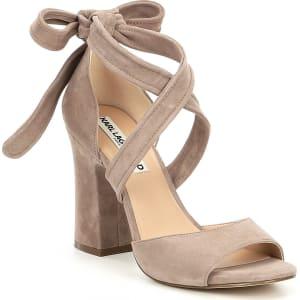 40ca1f208fde Karl Lagerfeld Paris Racha Suede Ankle Tie Block Heel Dress Sandals ...