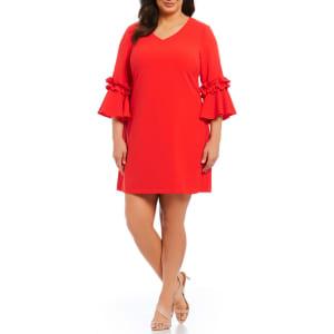 Jessica Howard Plus Size Ruffle Bell Sleeve Shift Dress