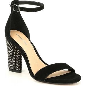 ed9f845d2b80 Gianni Bini Carlosa Suede Ankle Strap and Jeweled Block Heel Sandals ...
