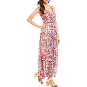 Chelsea Theodore Printed V Neck Maxi Dress From Dillard S