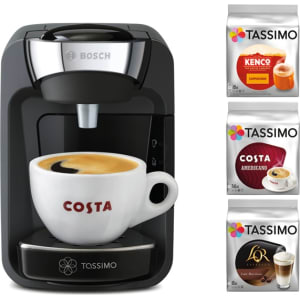 Tassimo By Bosch Black Suny Starter Kit Coffee Machine Tas3202gbc