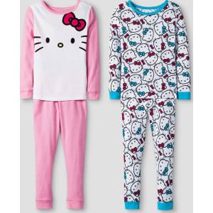 edc4b1d8b583 Toddler Girls  Hello Kitty Long Sleeve 4-Piece Cotton Pajama Set ...