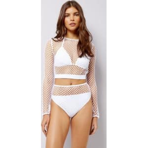 03bd440cf5c2f White Mesh High Waist Bikini Bottoms New Look from New Look.