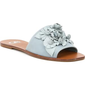 Char-Isma Metallic Leather 3D Floral Appliques Slides