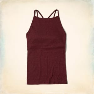 4285e469301 Strappy High-Neck Shelf Cami With Removable Pads from Hollister Co..