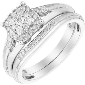 Perfect Fit 9ct White Gold Diamond Cluster Bridal Set From H Samuel