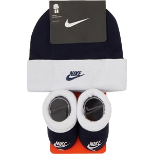 Nike Baby Boys  Navy Logo Embroidered Hat and Booties Set from ... 034e247fc61