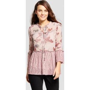 efc2c97a994 Women s Long Sleeve Mesh Printed Peasant Blouse With Cami - Knox ...